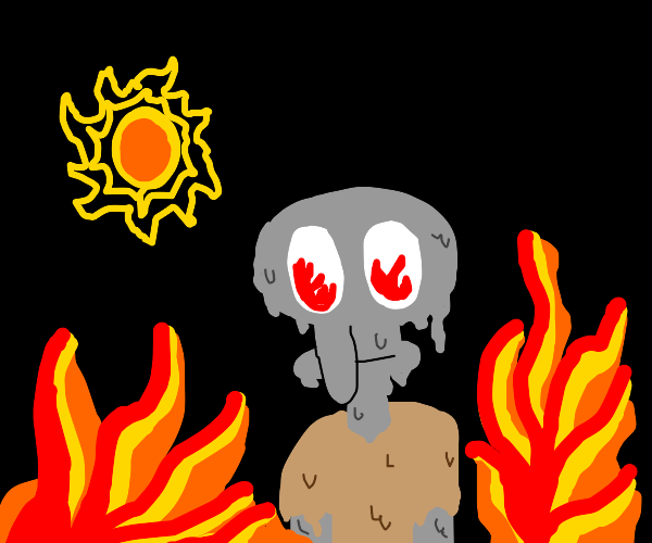 squidward melting under the sun next to fire