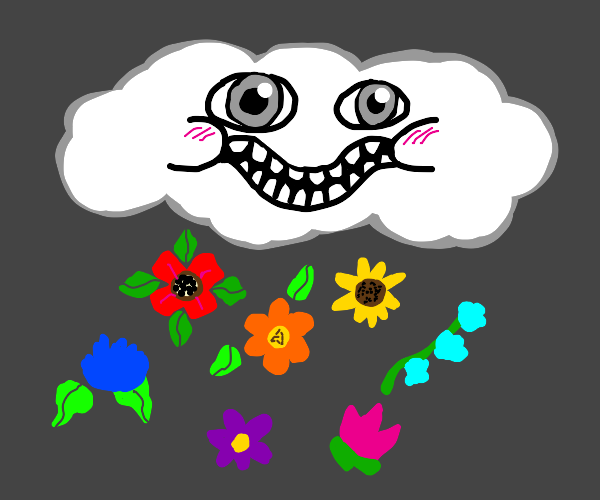 a raincloud is making it rain flowers