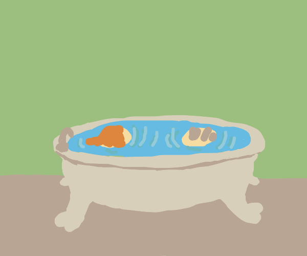 two disembodied heads sharing a bath