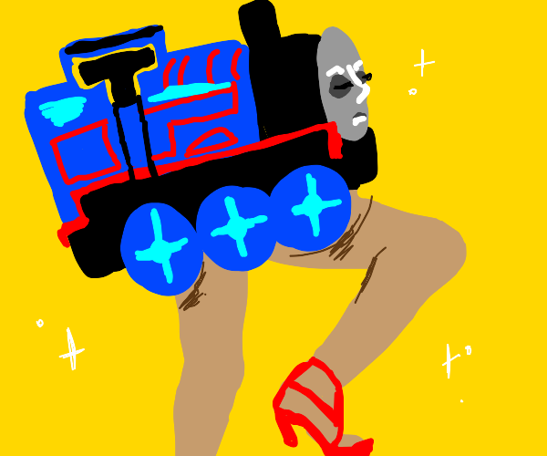 Thomas The Train with human legs & high-heels