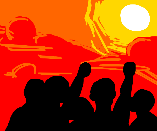 an angry crowd of people yelling at the sun