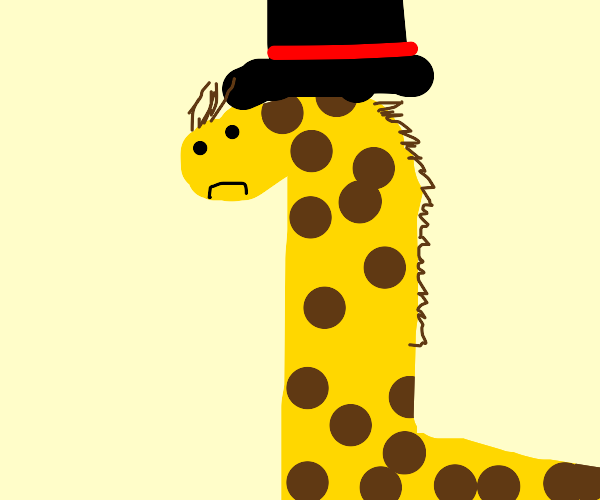 Sad giraffe with a top hat