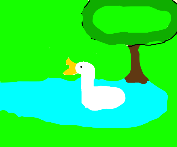 a duck in a pond under a tree