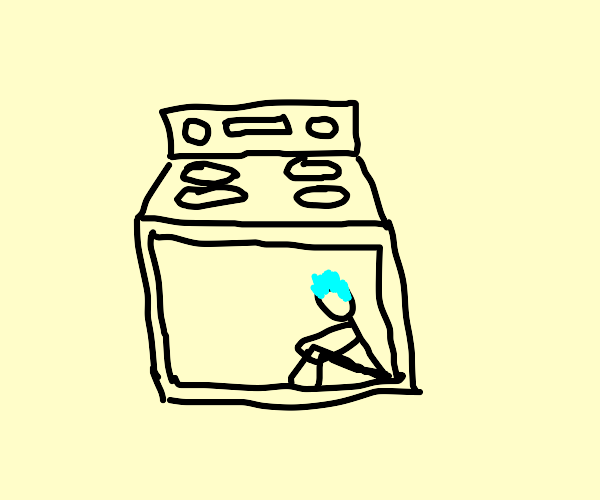 blue-haired man in oven