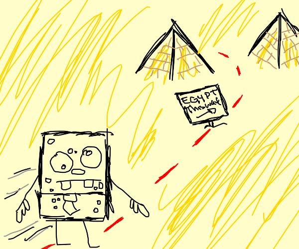 spongebob walks to egypt