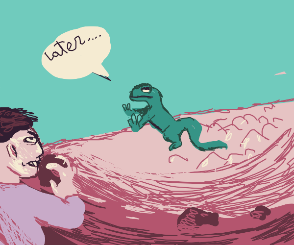 """lizard says """"later""""to angry man throwing rock"""