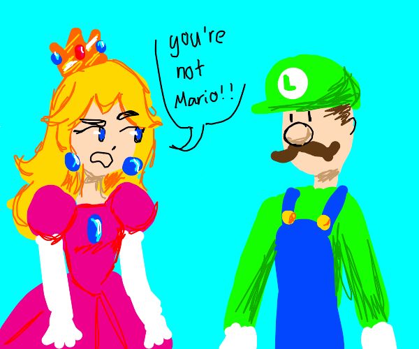 Peach sad because Luigi came instead of Mario