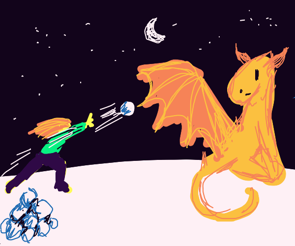 Snowball fight with dragon