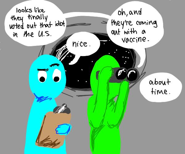 Alien spying on earth