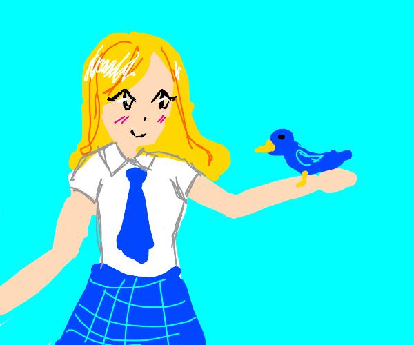Blonde schoolgirl has pet bird