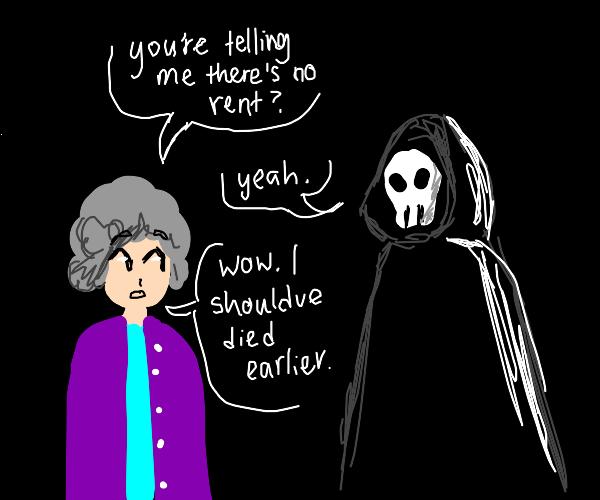 Grim reaper tells dead granny theres no rent