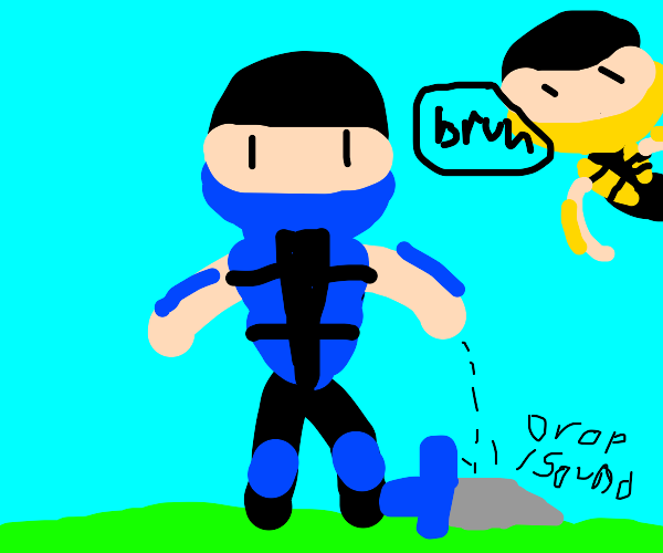 blue ninja has problems holding their weapon
