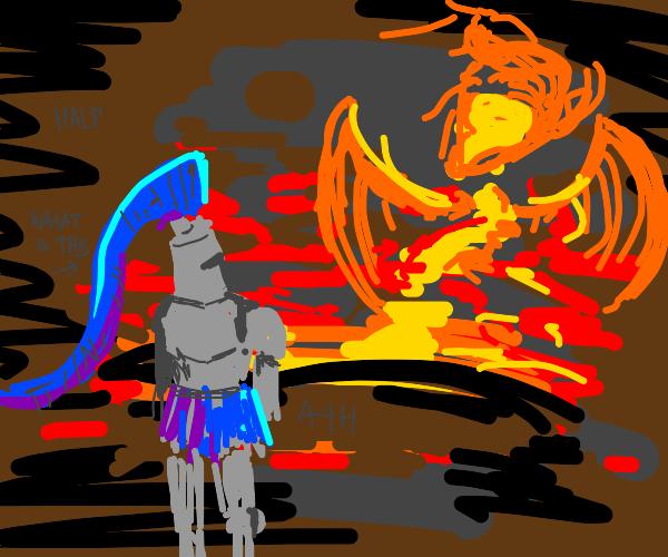 knight vs fire demon