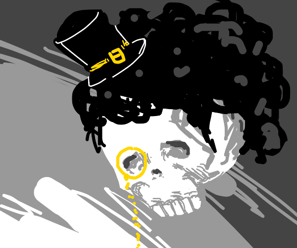 Fancy skeleton with afro and top hat