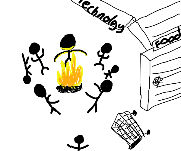 Dancing around a fire in a market