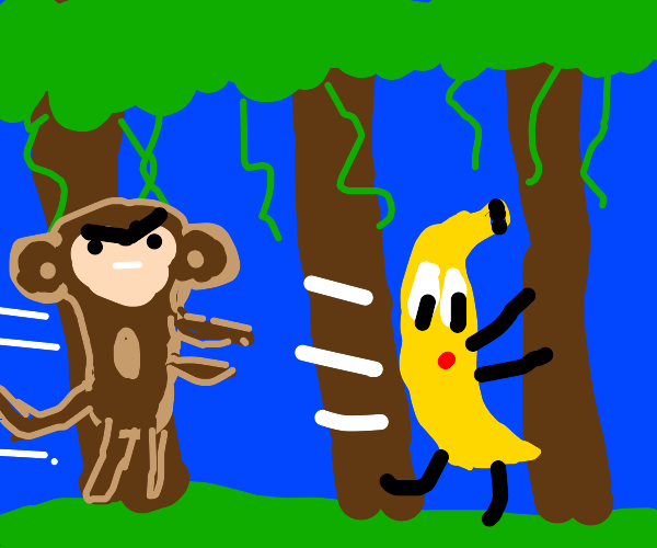 banana running from monkey