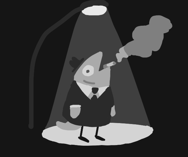 Fish in a suit smoking under a streetlamp