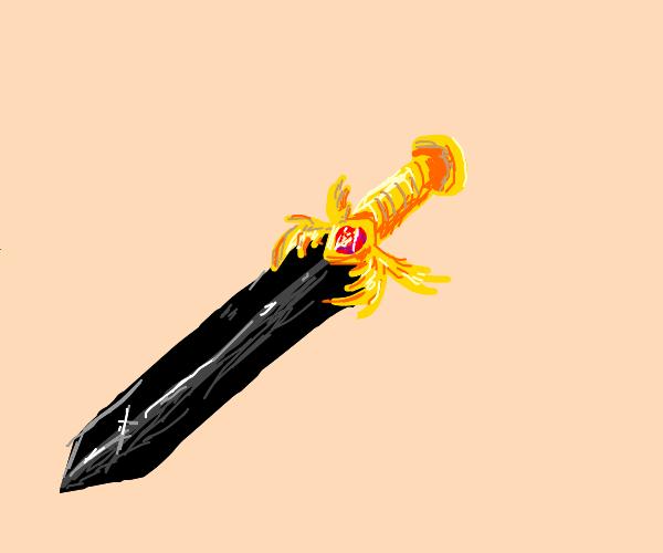 black sword / gold handle with red gem