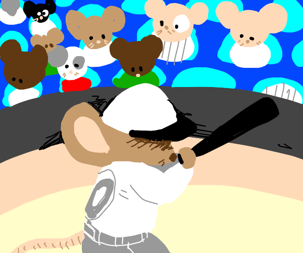 Mouse is playing baseball