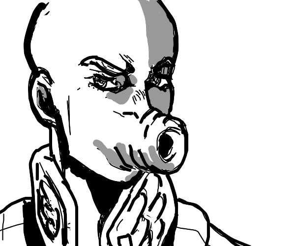 Bald Giorno with the cursed hair mouth