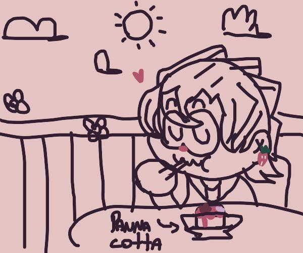 Fugo eating some panna cotta
