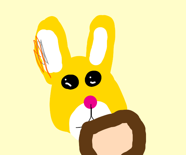 Yellow bunny with toast
