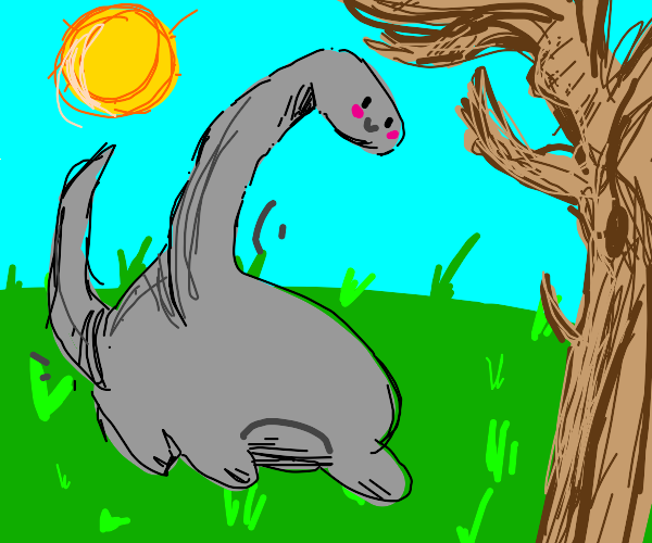 Dinosaur and tree and sun and grass