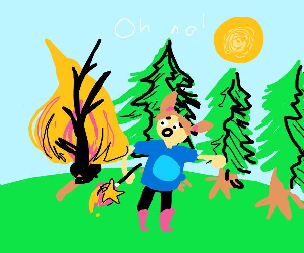 girl burns down a tree with her MAGIC WAND