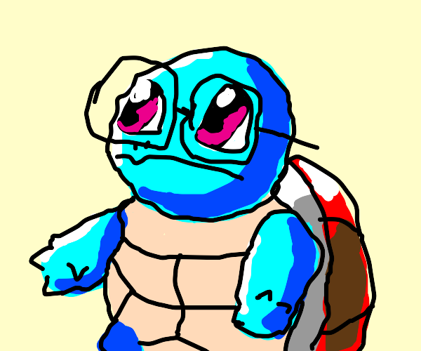 Squirtle with square glasses