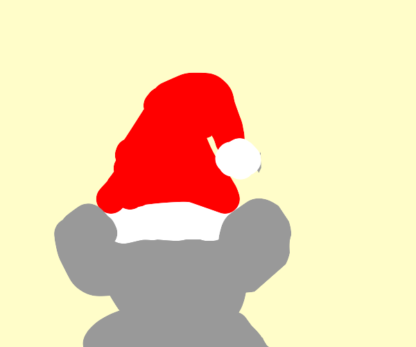 A mouse in a santa hat