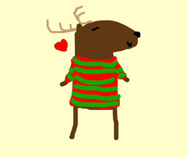 Reindeer with red green sweater