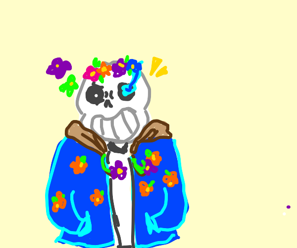 sans in floral clothing