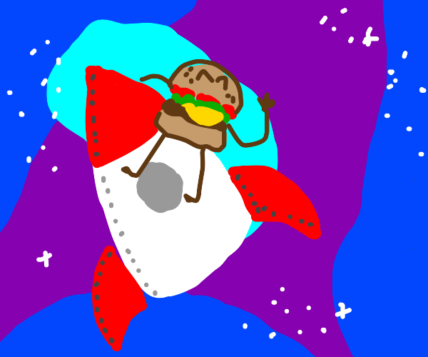 A burger riding on the outside of a rocket