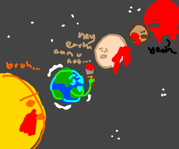 the earth painting the solar-system red