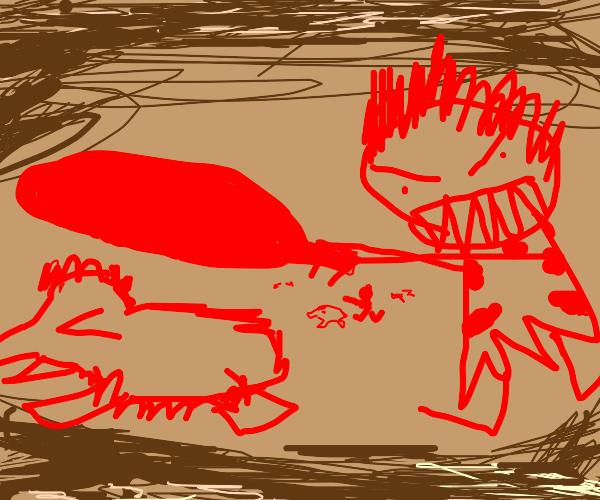 Caveman clubbing a mammoth