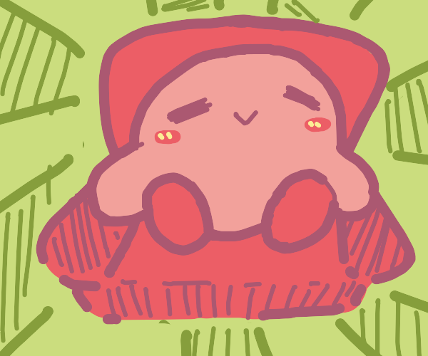 Kirby in a comfy chair