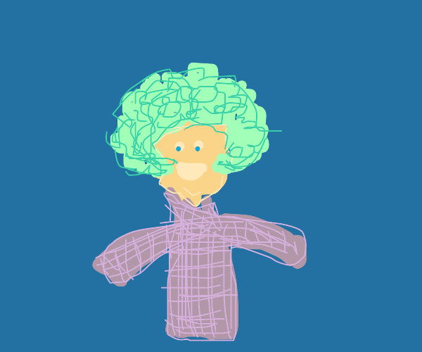 A lady with a sweater and green hair