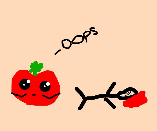 Tomato accidentally kills a man