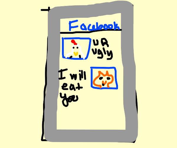 Chiken arguing whit Fox in facebook