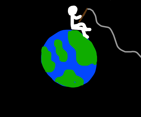 Man fishing on a planet