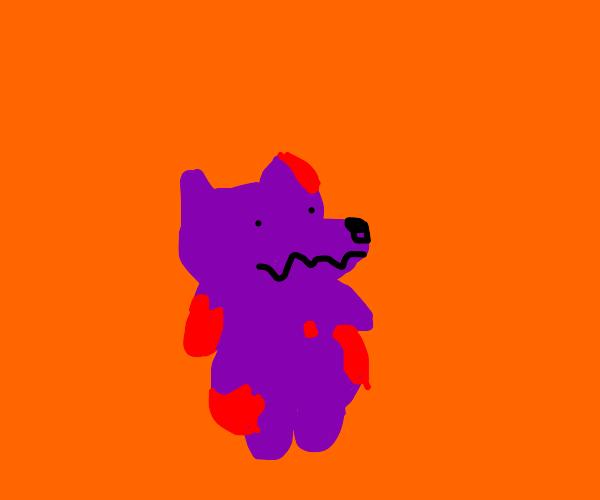 Bloody Purple Bear in an Orange Void