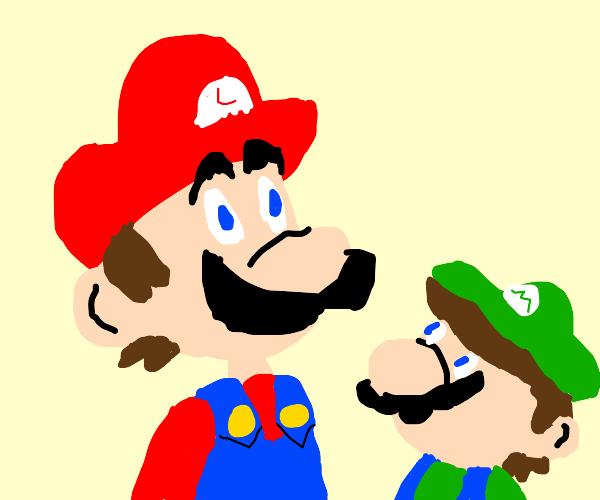 Luigi pretends to be Mario, & vice versa