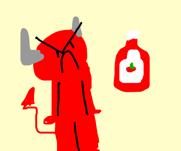 Demon angry at tomato juice