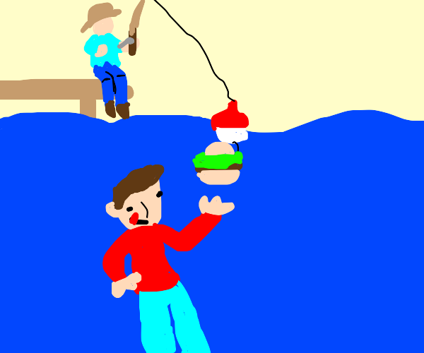 Man fishing for people