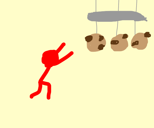 Red stickman wants his wind chimes, cookie.