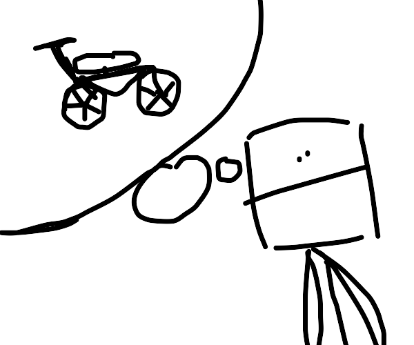 guy with a cube head thinks about a bike
