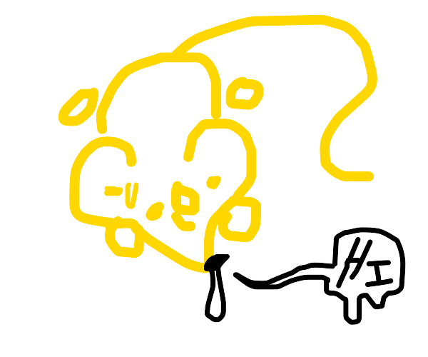 Weird yellow mouse with a runny nose says hi