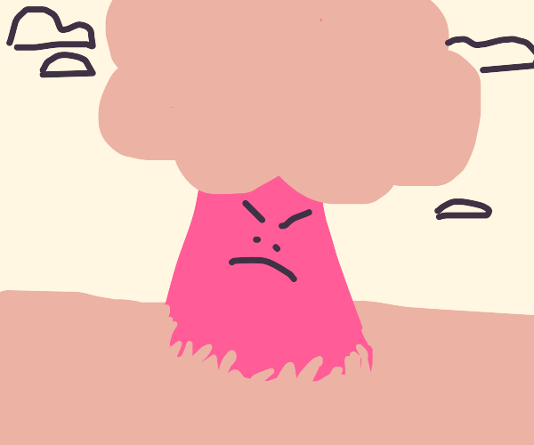 an angry pink tree