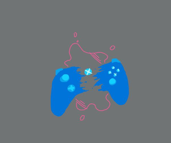 Bleeding and broken blue Xbox controller