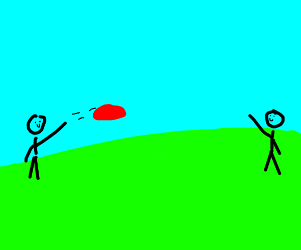Two kids play with frisbee